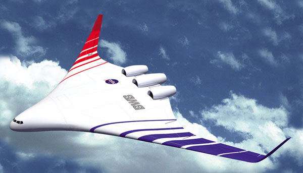 Image credit: NASA. Image is artist concept of one version of the blended wing body aircraft.